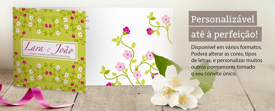 Convite de casamento disponível em vários formatos.  Poderá alterar as cores, tipos  de letras, e personalizar muitos outros pormenores tornado  o seu convite único.